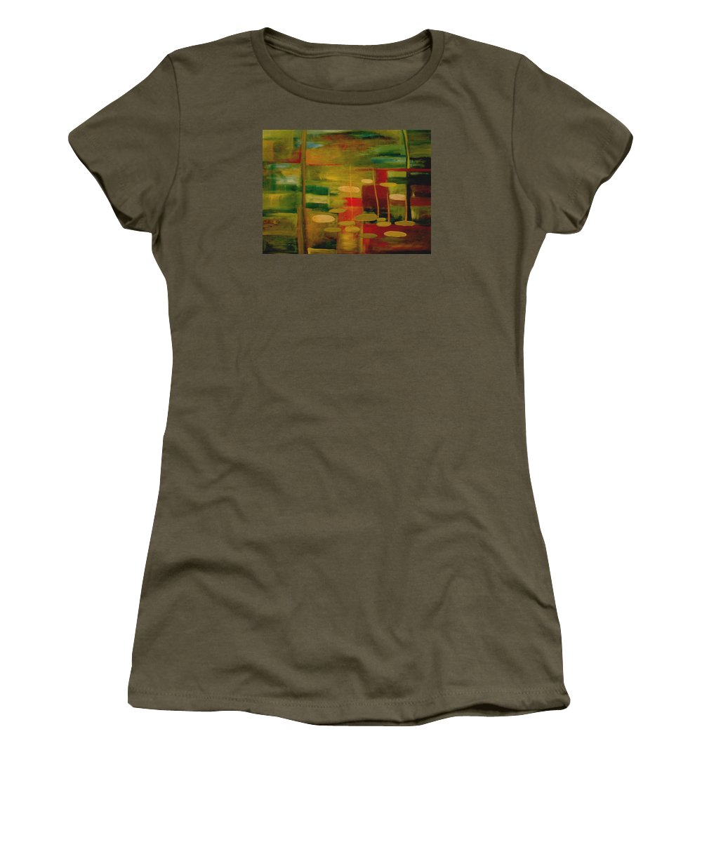 Pond Women's T-Shirt (Athletic Fit) featuring the painting Pond Reflections by Jun Jamosmos