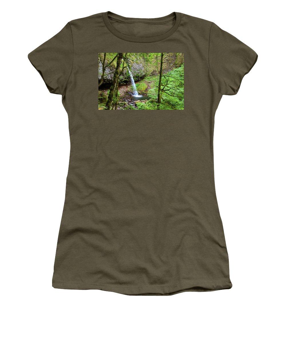 Waterfall Women's T-Shirt featuring the photograph Ponytail Falls, Oregon by Aashish Vaidya