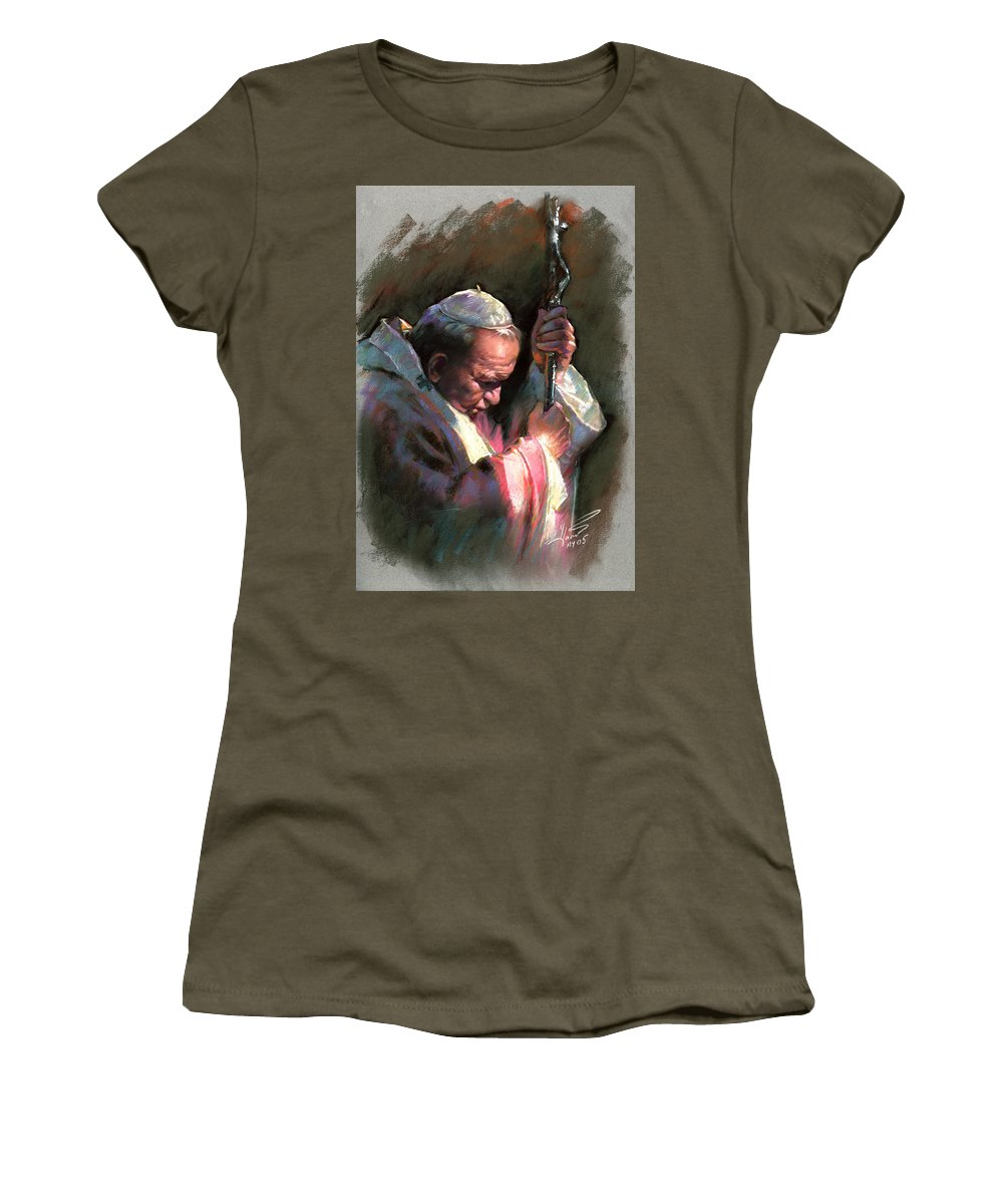 Portrait Women's T-Shirt featuring the pastel Pope John Paul II by Ylli Haruni