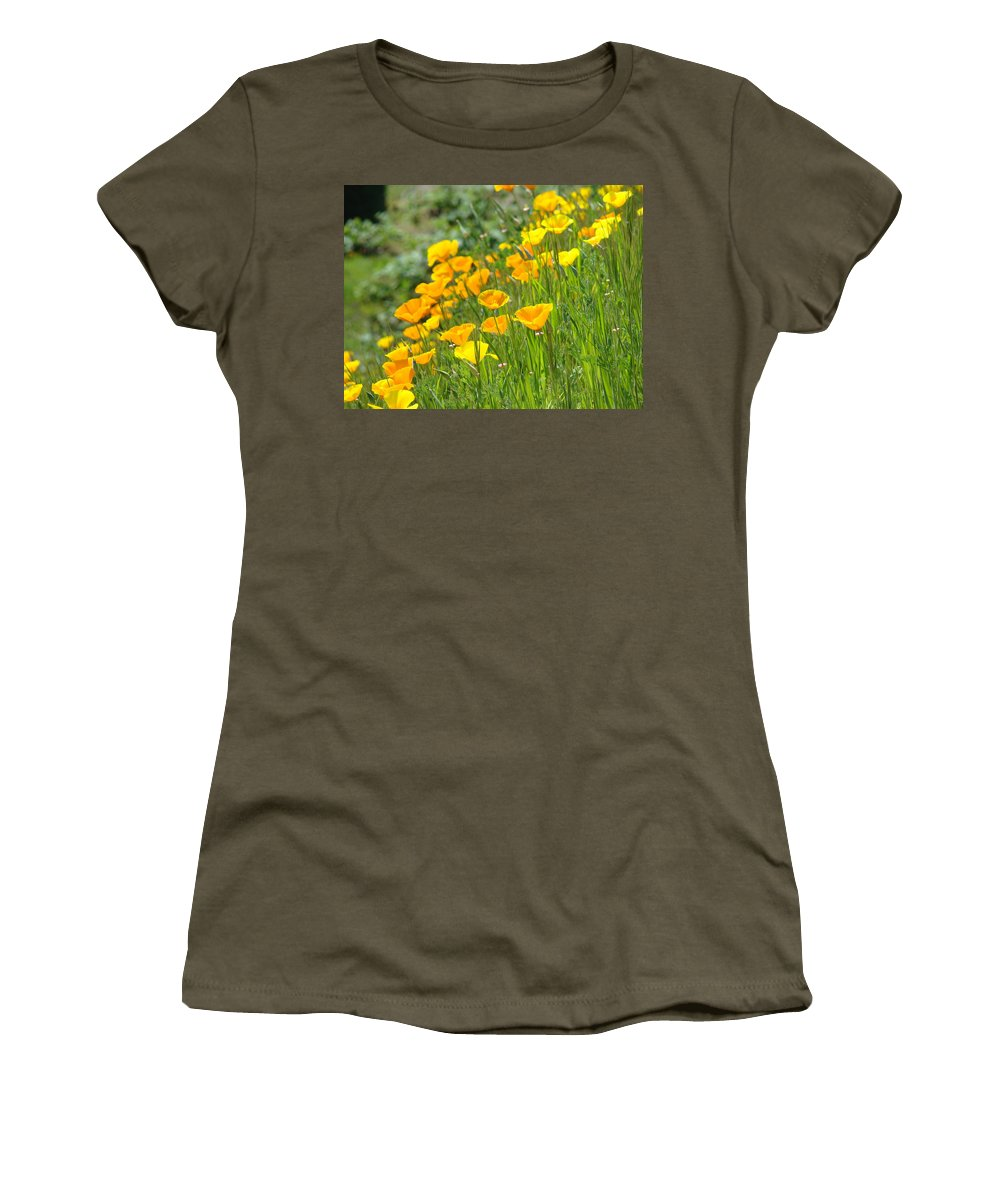 �poppies Artwork� Women's T-Shirt (Athletic Fit) featuring the photograph Poppies Hillside Meadow Landscape 19 Poppy Flowers Art Prints Baslee Troutman by Baslee Troutman