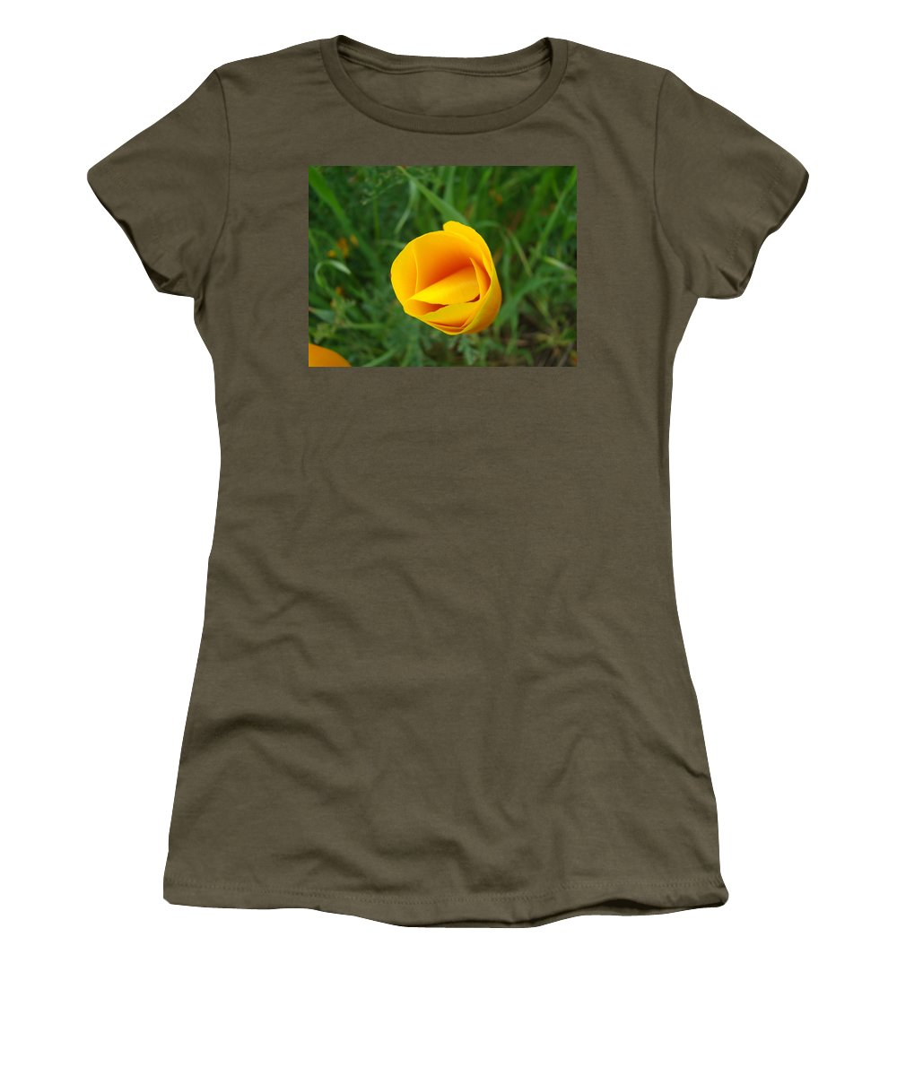 �poppies Artwork� Women's T-Shirt (Athletic Fit) featuring the photograph Poppy Flower Bud 9 Orange Poppies Green Meadow Art Prints Baslee Troutman by Baslee Troutman