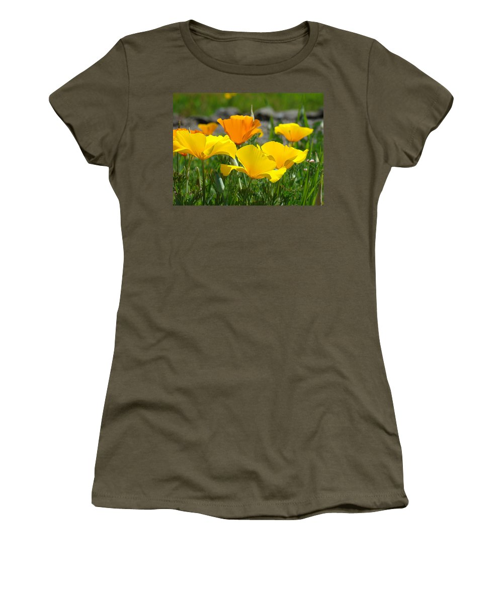 �poppies Artwork� Women's T-Shirt (Athletic Fit) featuring the photograph Poppy Flower Meadow 14 Poppies Orange Flowers Giclee Art Prints Baslee Troutman by Baslee Troutman