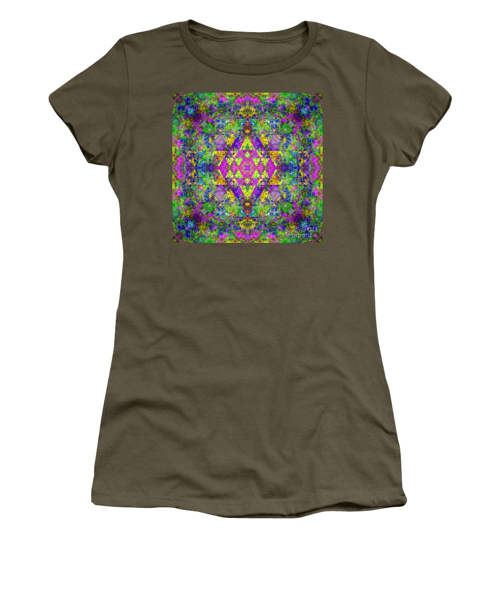 Sri Yantra Women's T-Shirt (Athletic Fit) featuring the digital art Poppy Opal Yantra by Susan Bloom