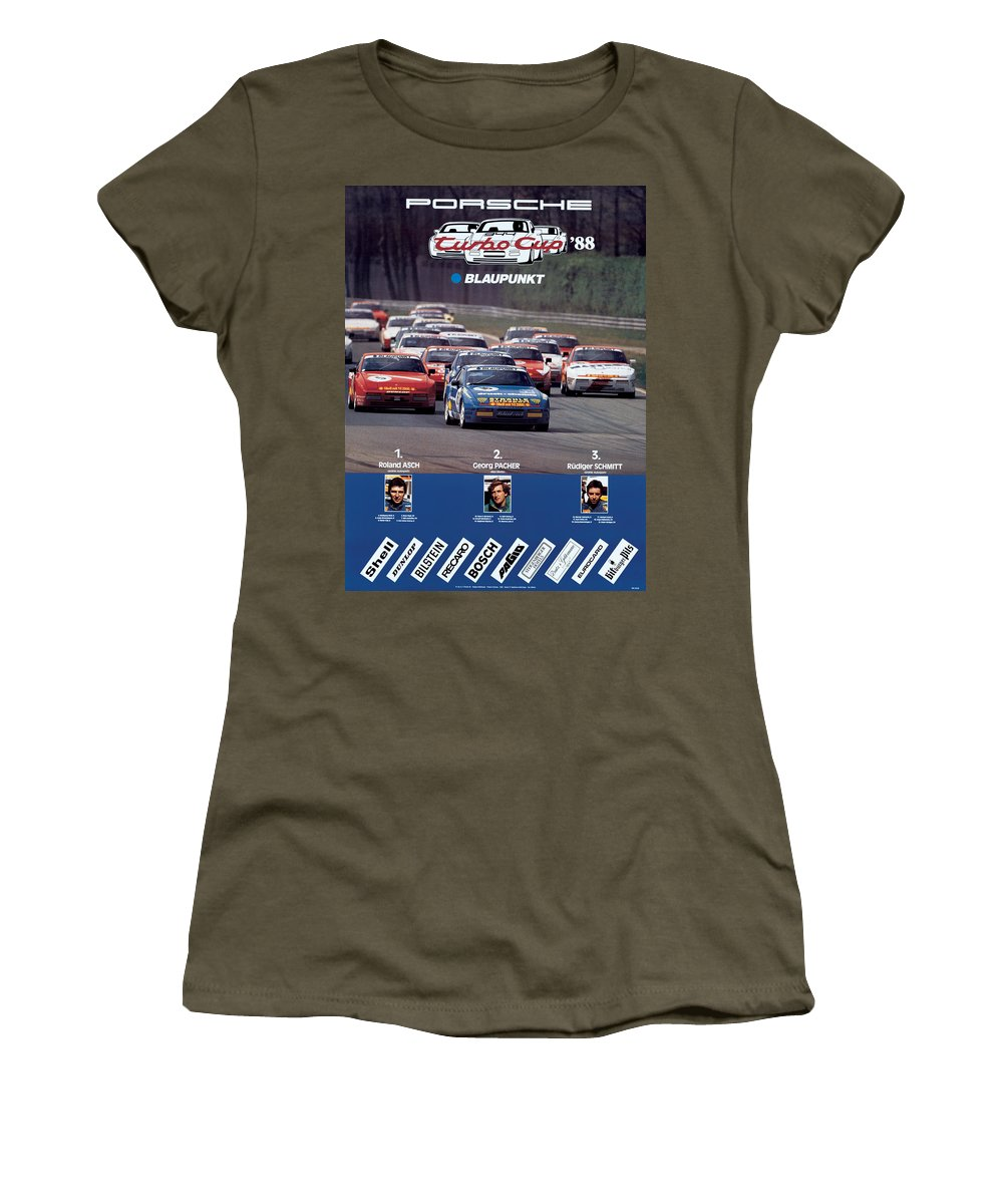 Porsche Women's T-Shirt featuring the digital art Porsche Turbo Cup 1988 by Georgia Fowler