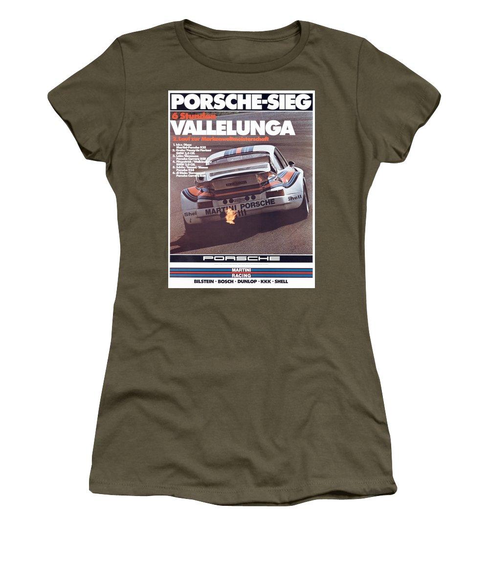 Porsche Women's T-Shirt featuring the digital art Porsche Vallelunga Vintage Racing Poster by Georgia Fowler