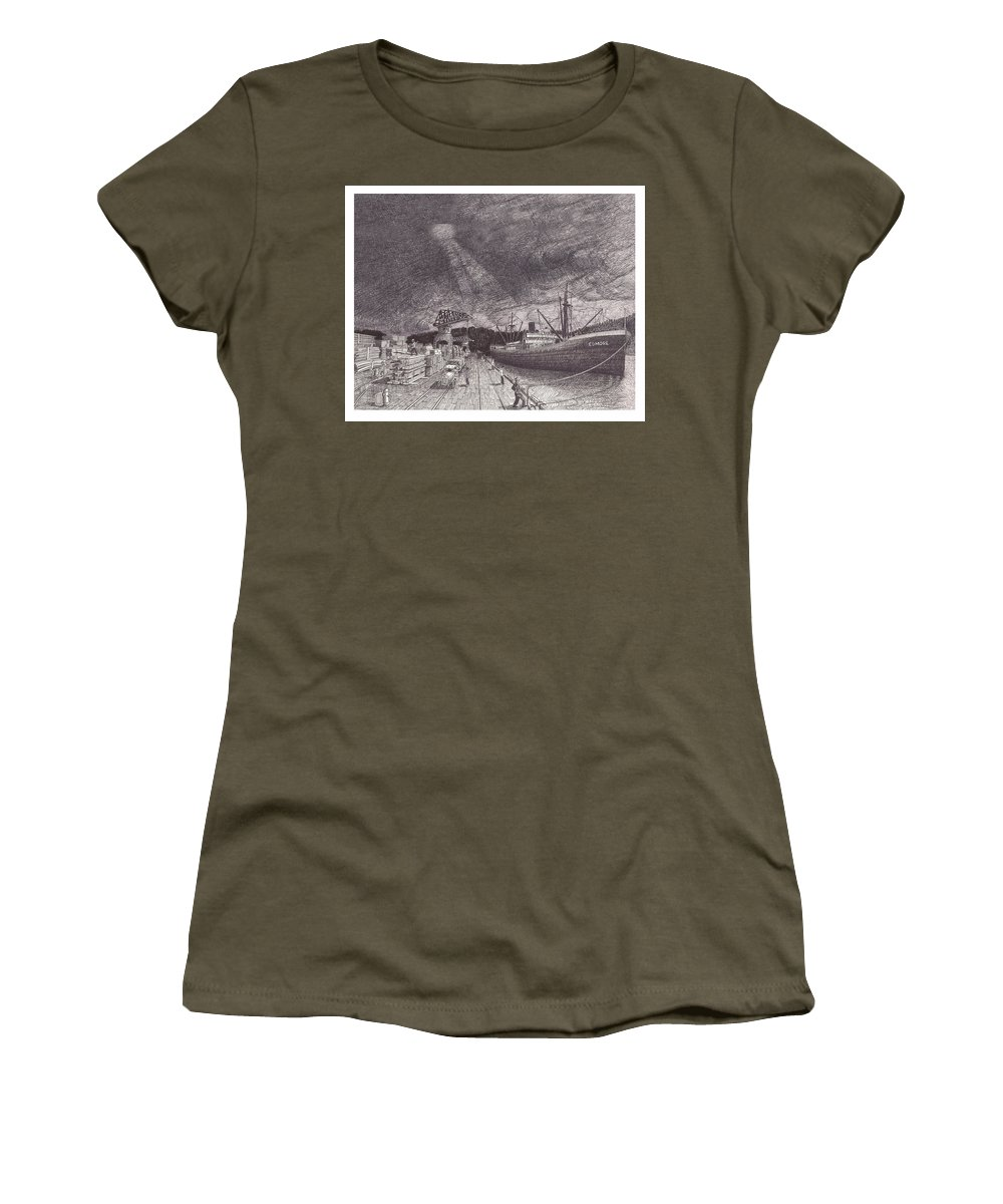 Port Of Tacoma Women's T-Shirt featuring the drawing Port Of Tacoma Wa Waterfront by Jack Pumphrey