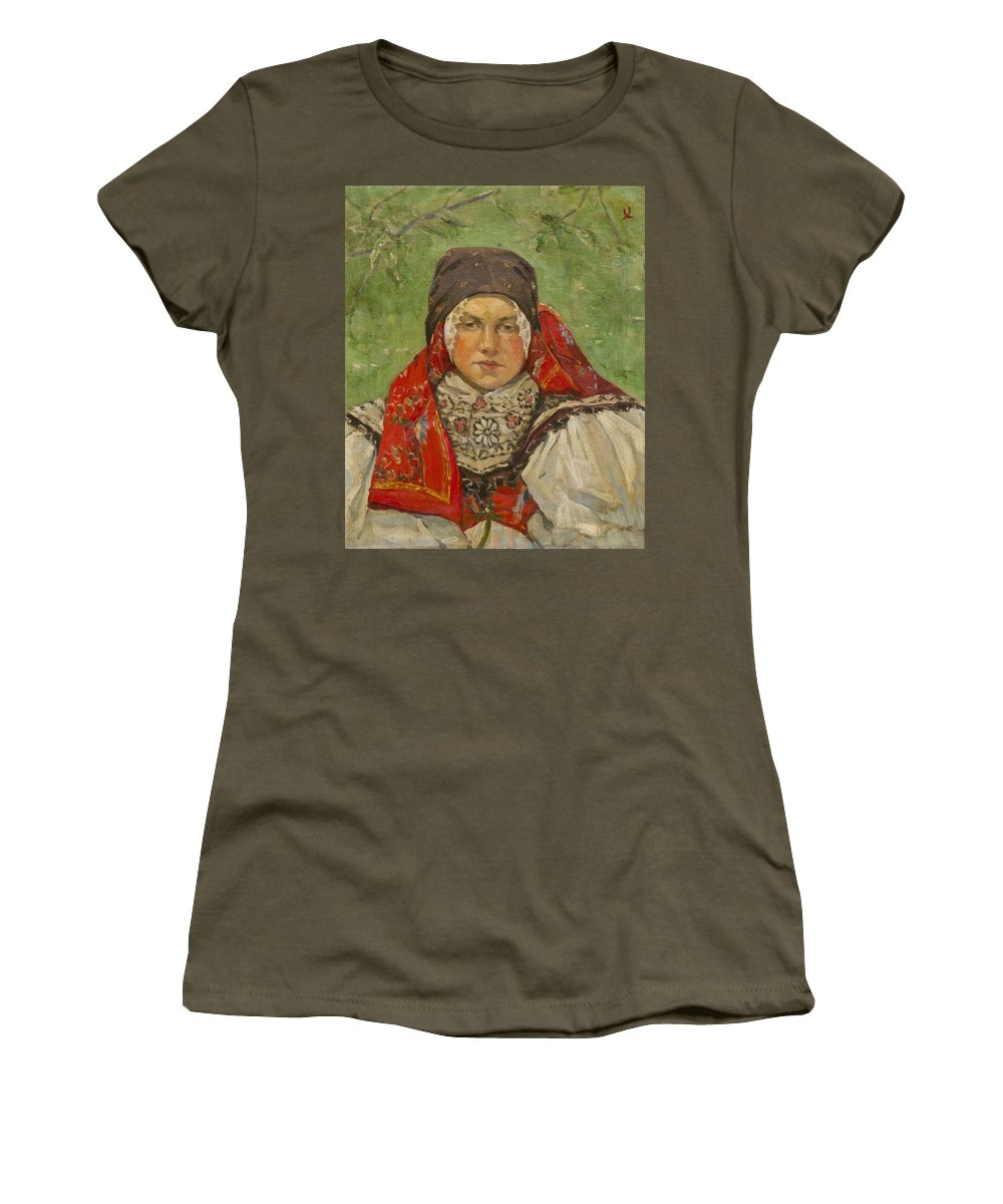 Joza Uprka(czech Women's T-Shirt (Athletic Fit) featuring the painting Portrait Of A Woman In A Red Scarf by MotionAge Designs