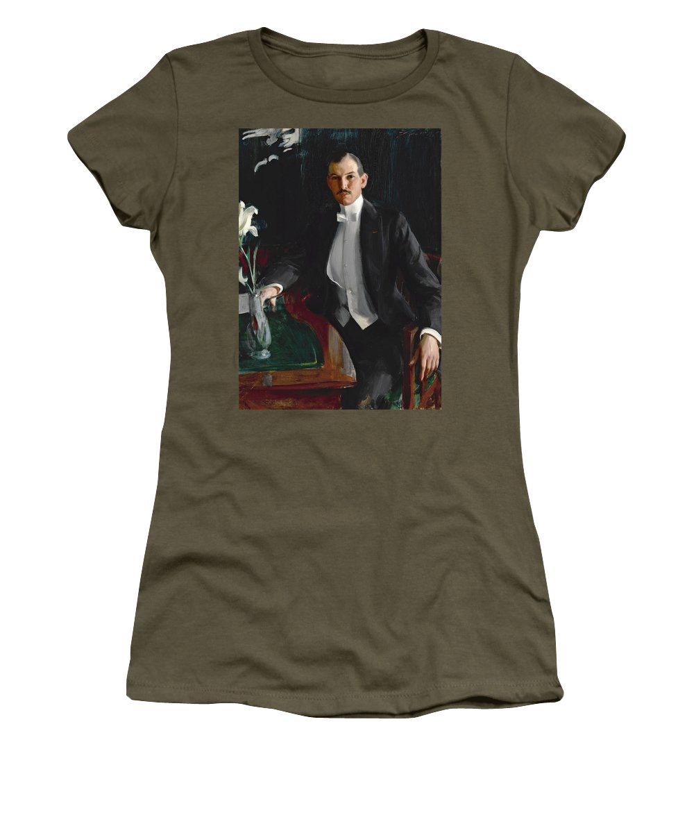 Anders Zorn Women's T-Shirt (Athletic Fit) featuring the painting Portrait Of Harald Bildt by Anders Zorn