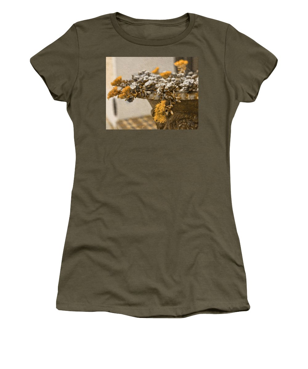 Diamonds Women's T-Shirt featuring the photograph Pot Flowers by Alex Art and Photo