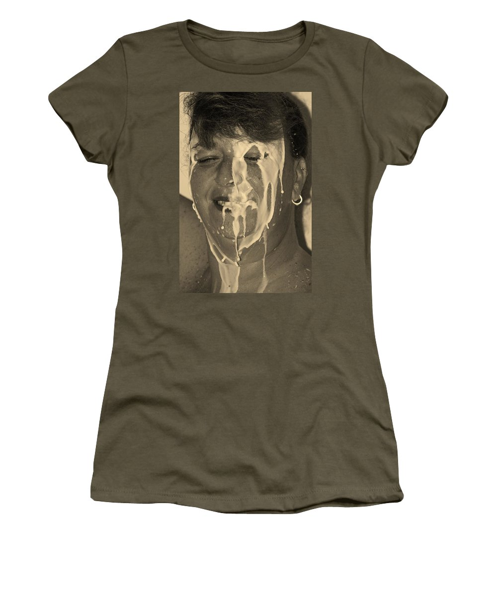 Milk Women's T-Shirt featuring the photograph Poured Milk by Rob Hans