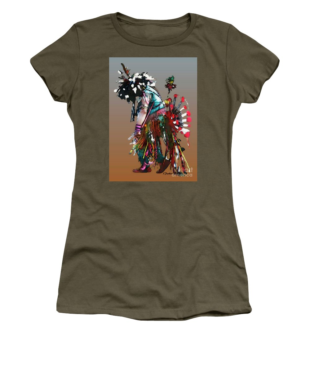 Abstract Women's T-Shirt (Athletic Fit) featuring the photograph Pow Wow Dancer by Linda Parker