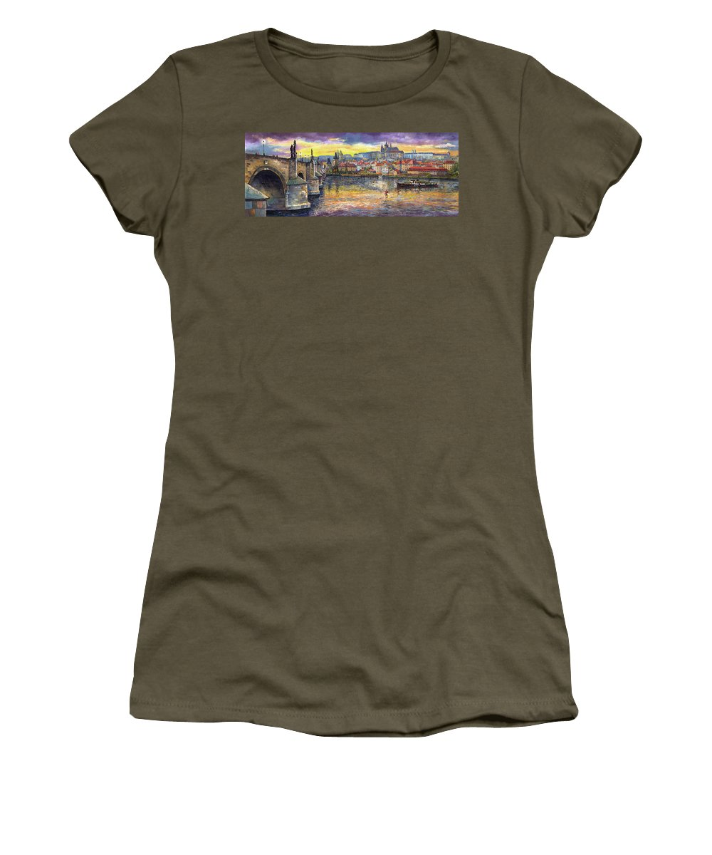 Oil On Canvas Women's T-Shirt featuring the painting Prague Charles Bridge And Prague Castle With The Vltava River 1 by Yuriy Shevchuk