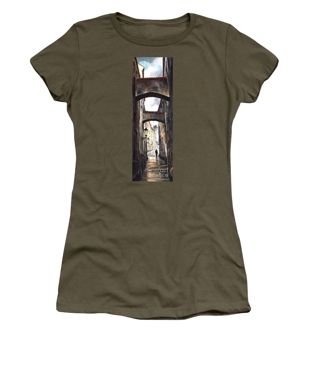 Oil On Canvas Paintings Women's T-Shirt featuring the painting Prague Old Street 02 by Yuriy Shevchuk