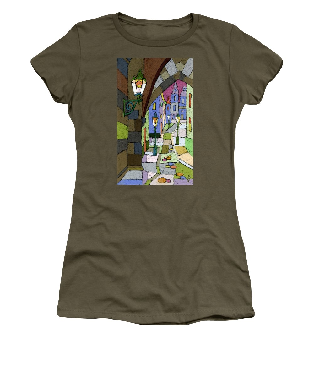 Pastel Women's T-Shirt featuring the painting Prague Old Street Mostecka by Yuriy Shevchuk