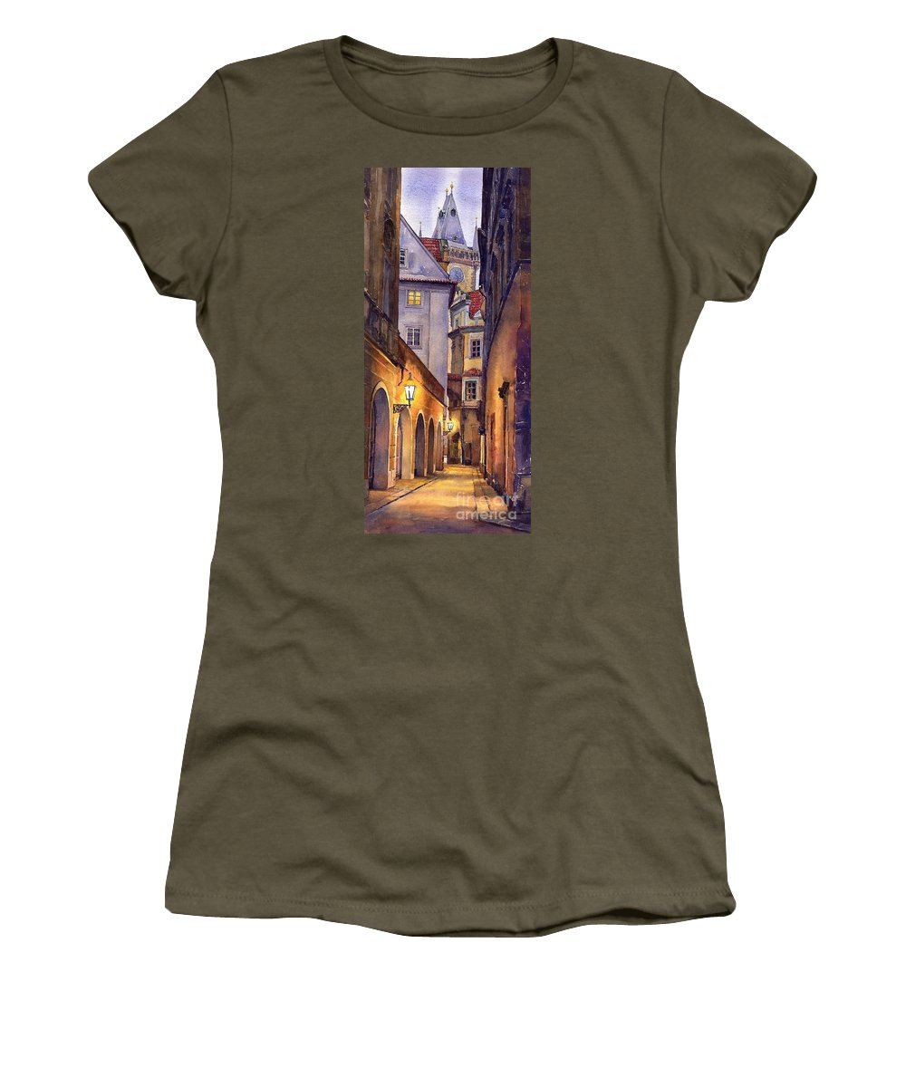 Cityscape Women's T-Shirt (Athletic Fit) featuring the painting Prague Old Street by Yuriy Shevchuk
