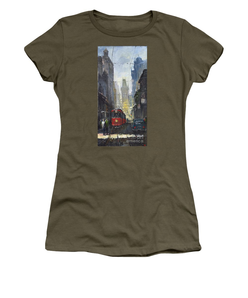Oil On Canvas Paintings Women's T-Shirt featuring the painting Prague Old Tram 05 by Yuriy Shevchuk