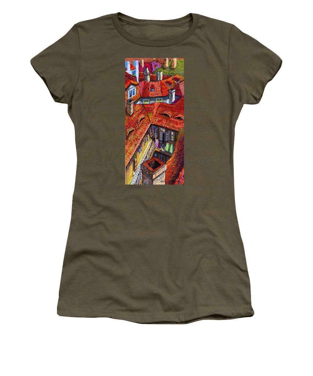 Pastel Women's T-Shirt featuring the painting Prague Roofs 01 by Yuriy Shevchuk