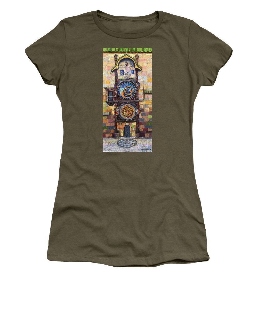 Cityscape Women's T-Shirt (Athletic Fit) featuring the painting Prague The Horologue At Oldtownhall by Yuriy Shevchuk