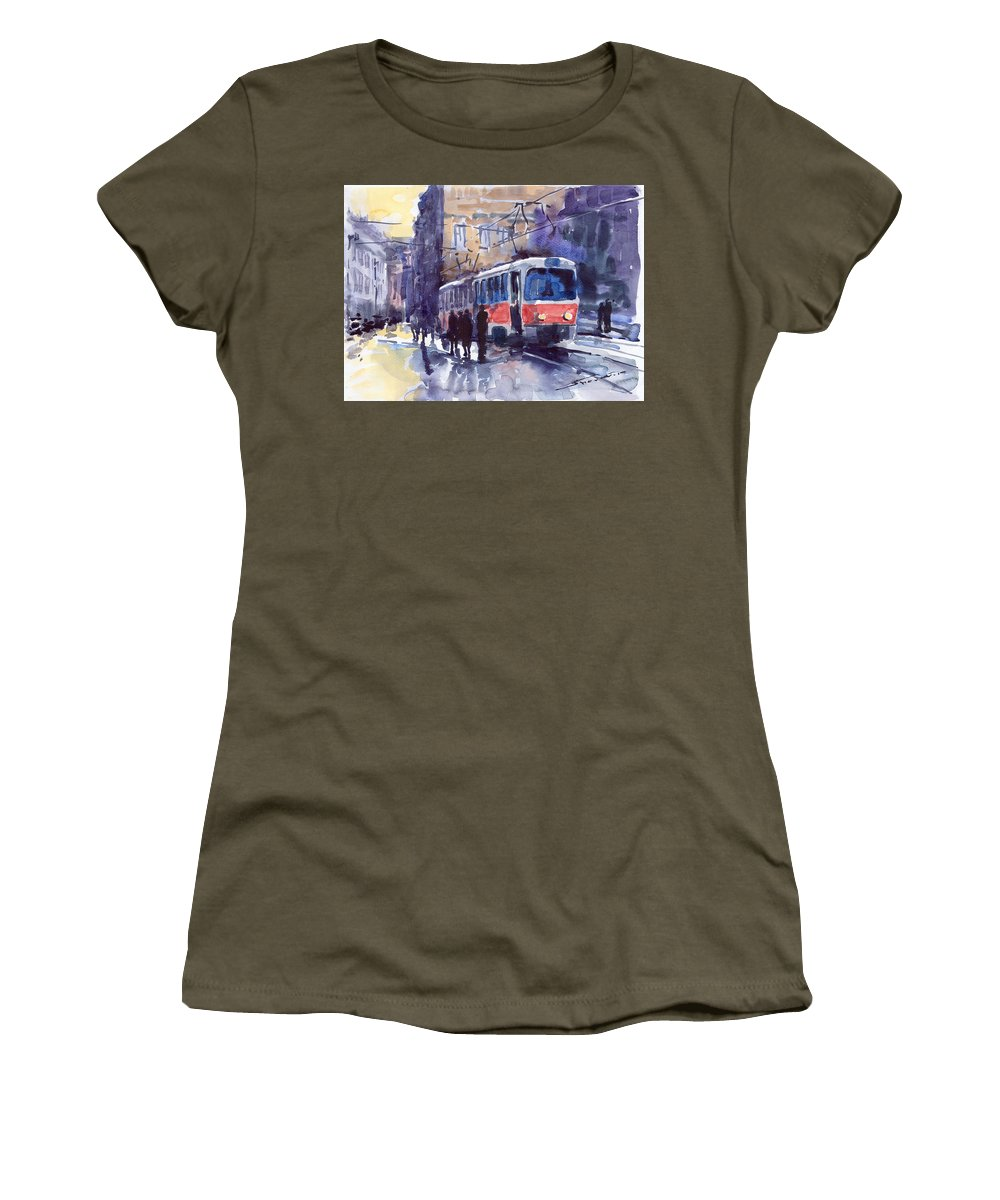 Cityscape Women's T-Shirt (Athletic Fit) featuring the painting Prague Tram 02 by Yuriy Shevchuk