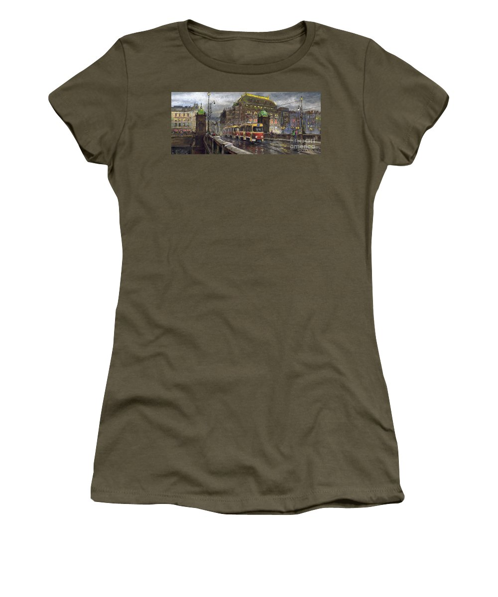 Prague Women's T-Shirt (Athletic Fit) featuring the painting Prague Tram Legii Bridge National Theatre by Yuriy Shevchuk