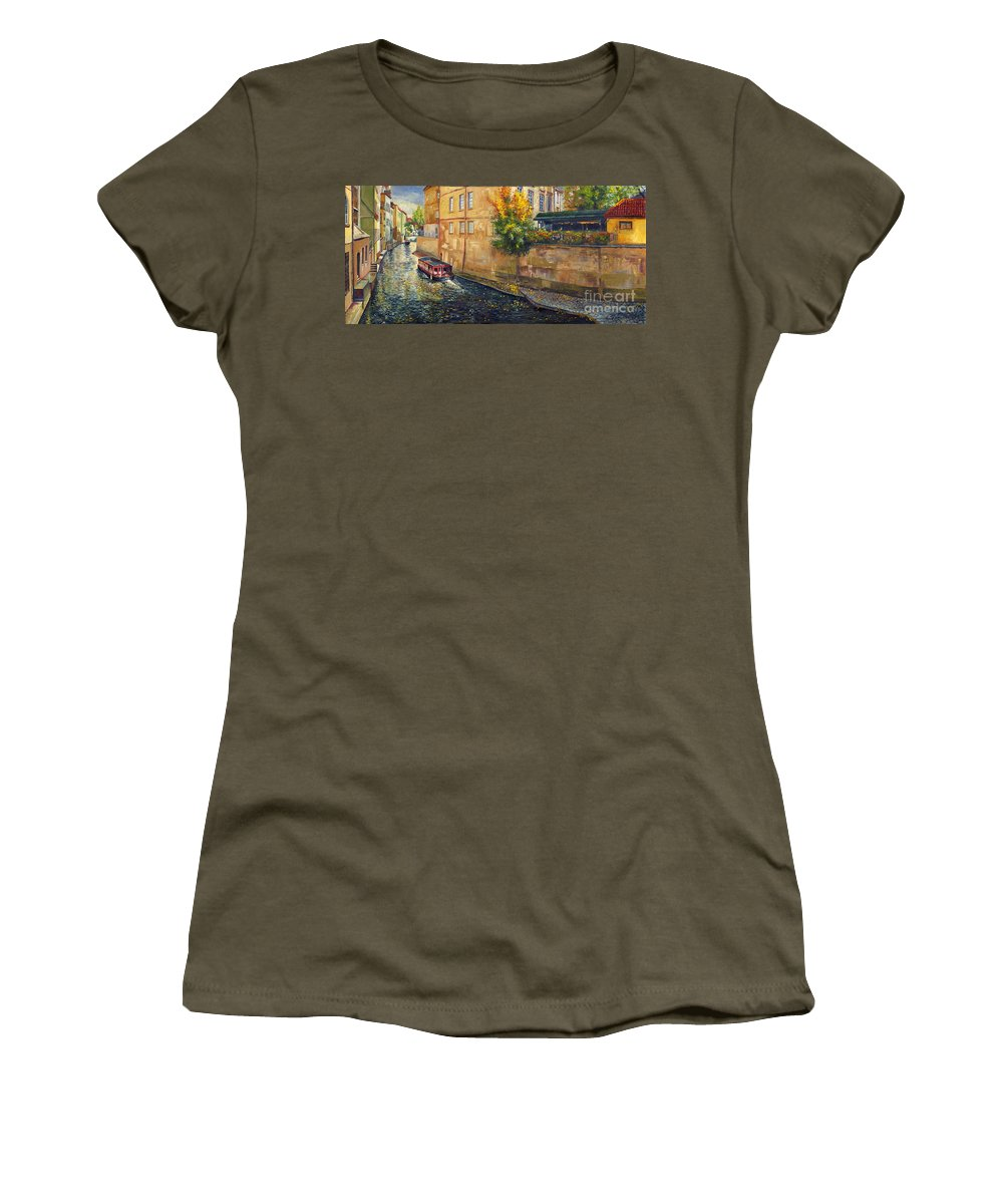 Oil.prague Women's T-Shirt (Athletic Fit) featuring the painting Prague Venice Chertovka 2 by Yuriy Shevchuk
