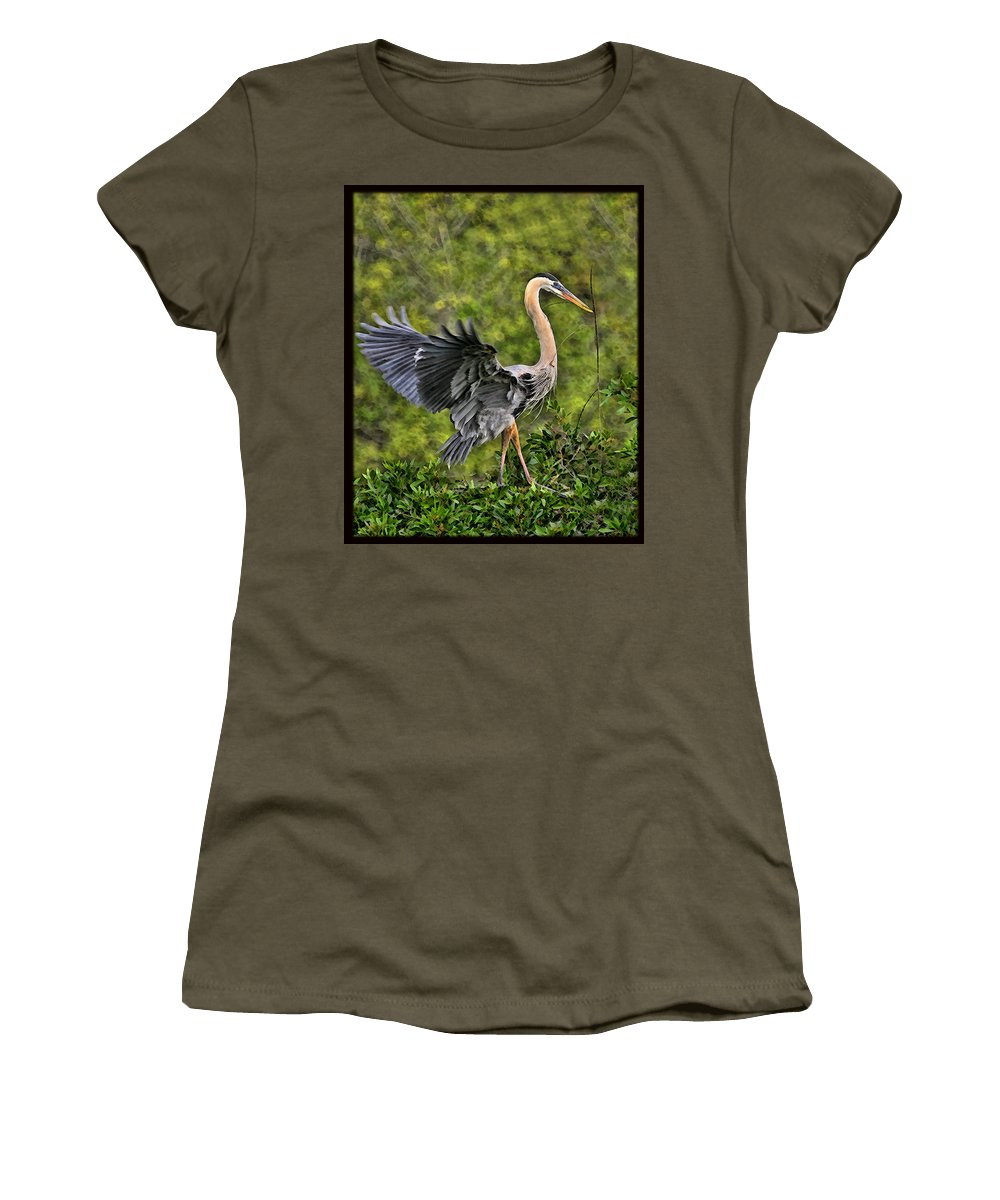 Blue Heron Bird Wildlife Dancing Florida Shore Photography Digital Art Photograph Women's T-Shirt featuring the photograph Prancing Heron by Shari Jardina