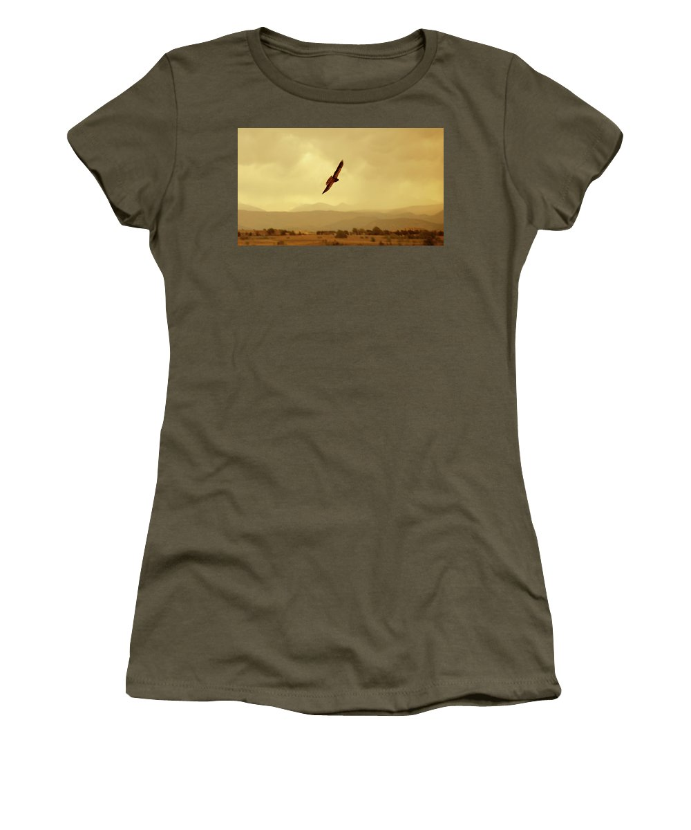 Hawk Women's T-Shirt featuring the photograph Prarie Flyer by Marilyn Hunt