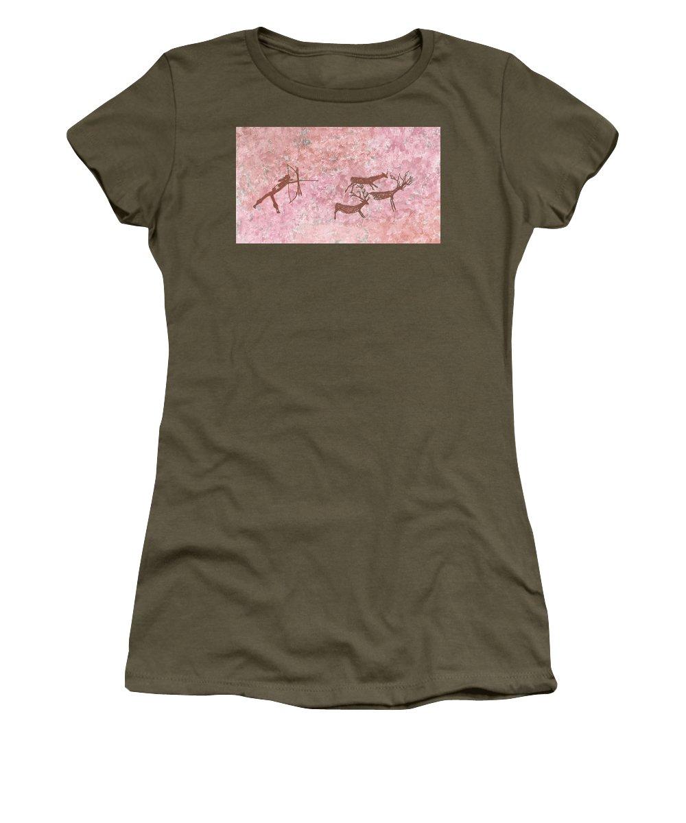 Prehistoric Hunter Women's T-Shirt featuring the painting Prehistoric Hunter by Inna Kozlova
