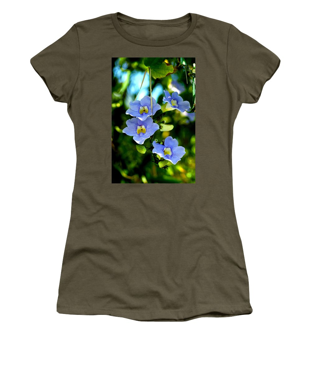 Flower Women's T-Shirt (Athletic Fit) featuring the photograph Pretty In Blue by Susanne Van Hulst