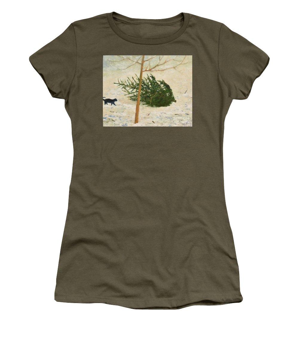 Cat Women's T-Shirt featuring the painting Principle by Oleg Konin