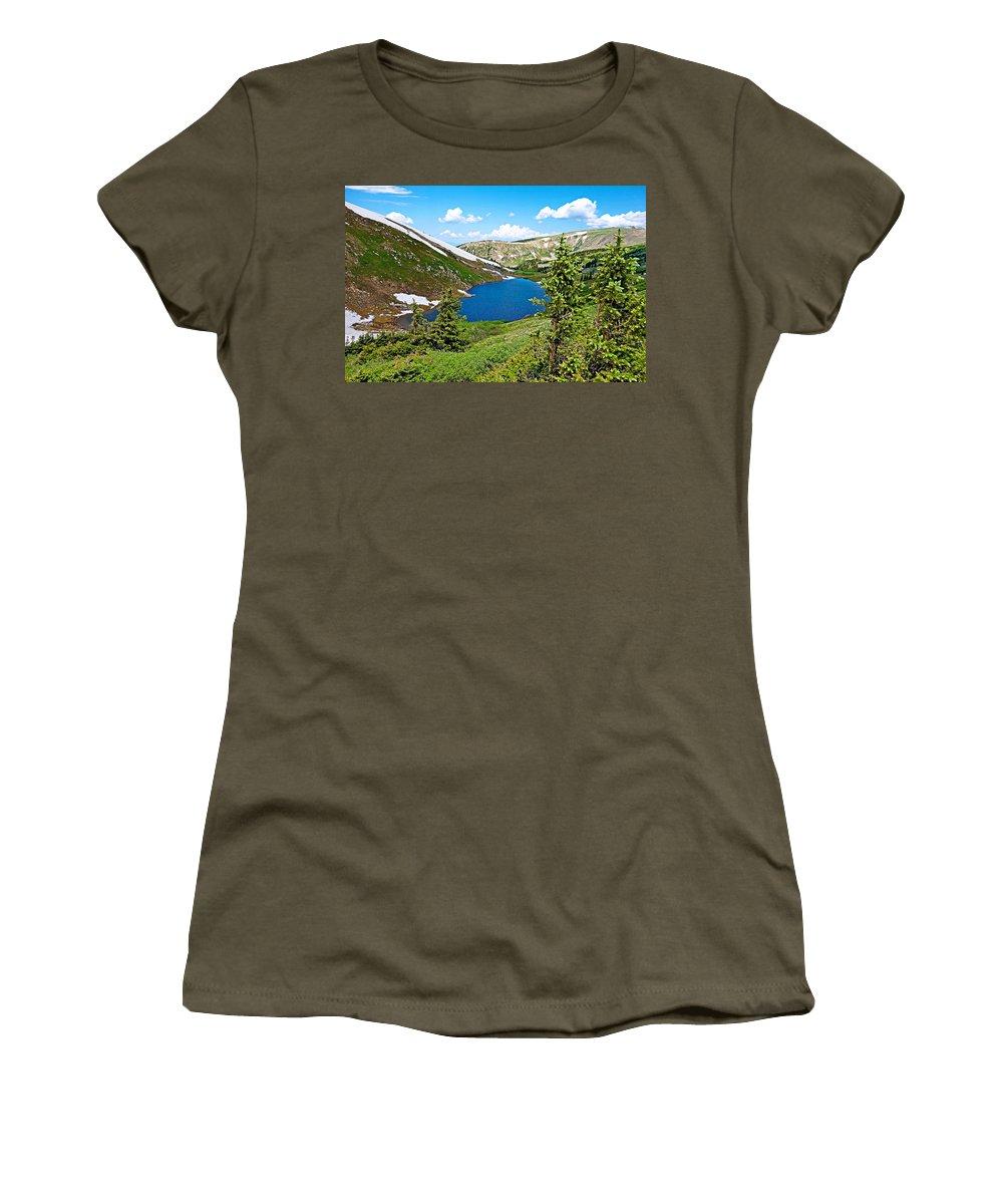 Pumphouse Lake Women's T-Shirt featuring the photograph Pumphouse Lake I by Robert Meyers-Lussier