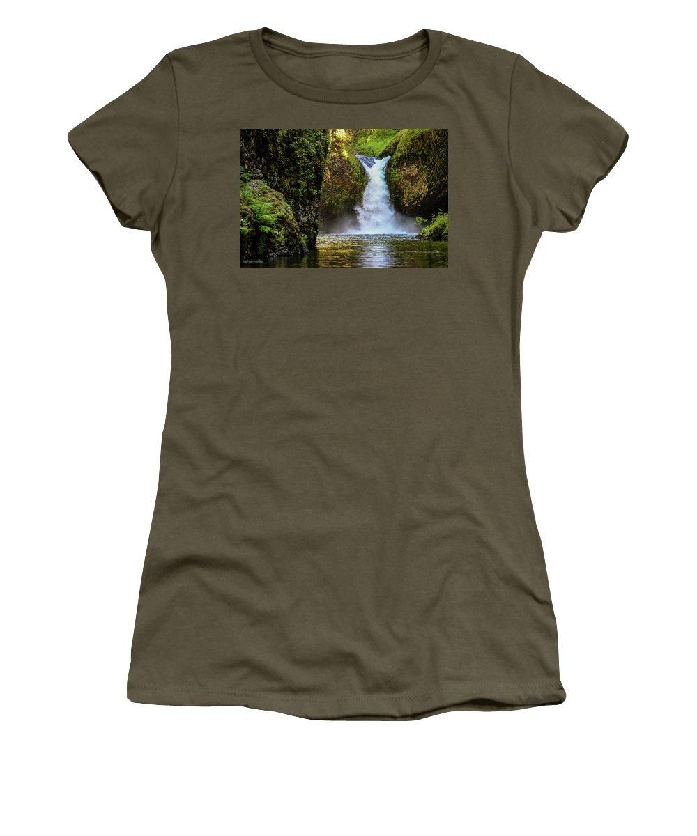 Waterfall Women's T-Shirt featuring the photograph Punch Bowl Falls, Oregon by Aashish Vaidya