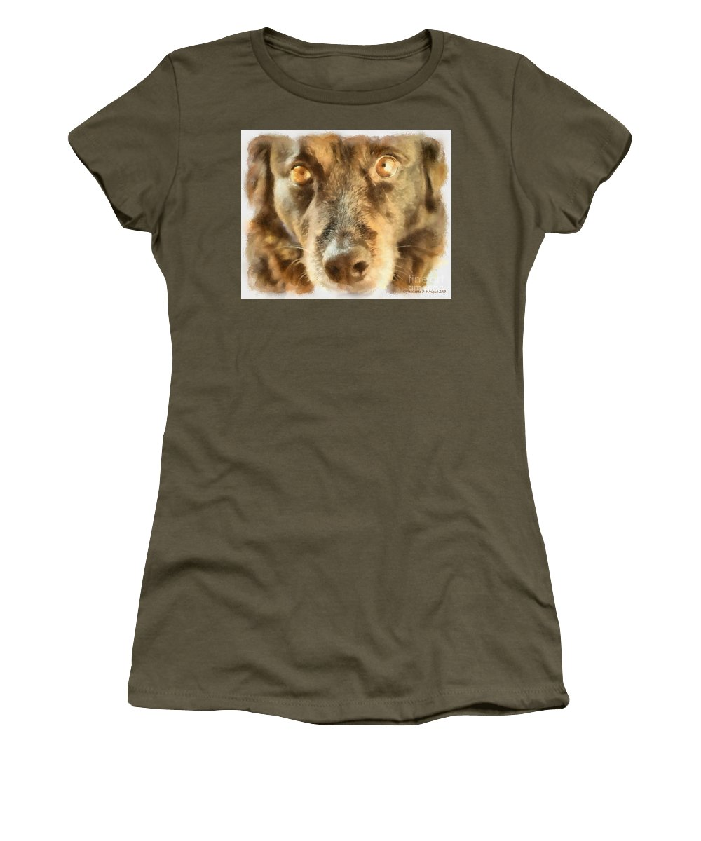 Dog Women's T-Shirt featuring the photograph Puppy Eyes by Paulette B Wright