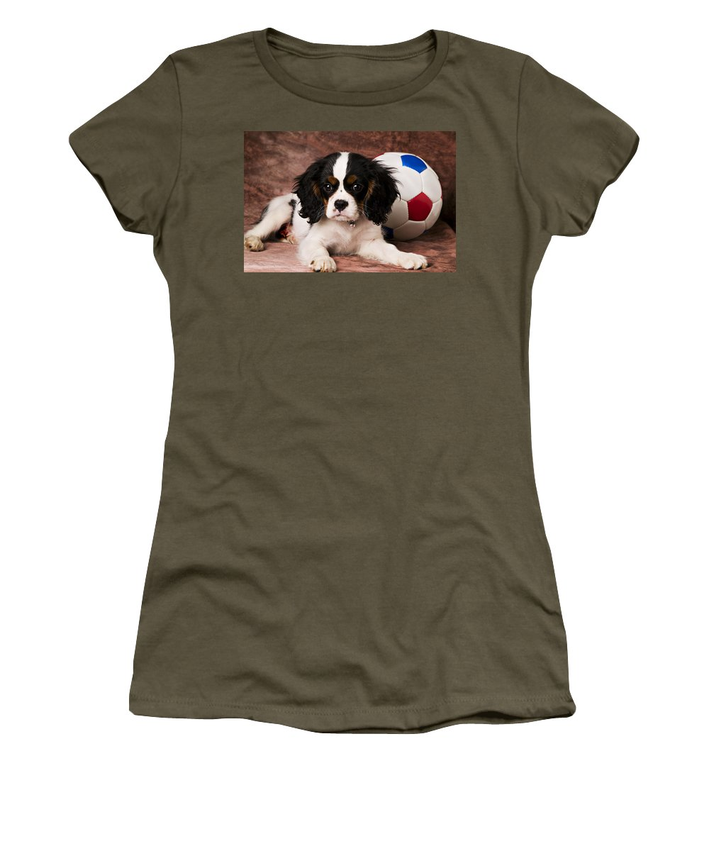 Puppy Dog Cute Doggy Domestic Pup Pet Pedigree Canine Creature Soccer Ball Women's T-Shirt (Athletic Fit) featuring the photograph Puppy With Ball by Garry Gay