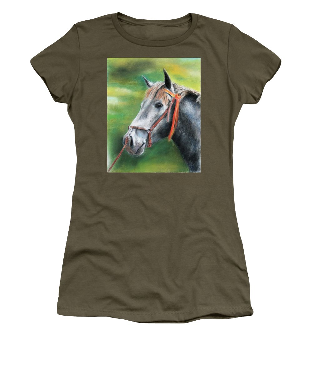 Horse Women's T-Shirt (Athletic Fit) featuring the painting Pure Spanish by Ceci Watson
