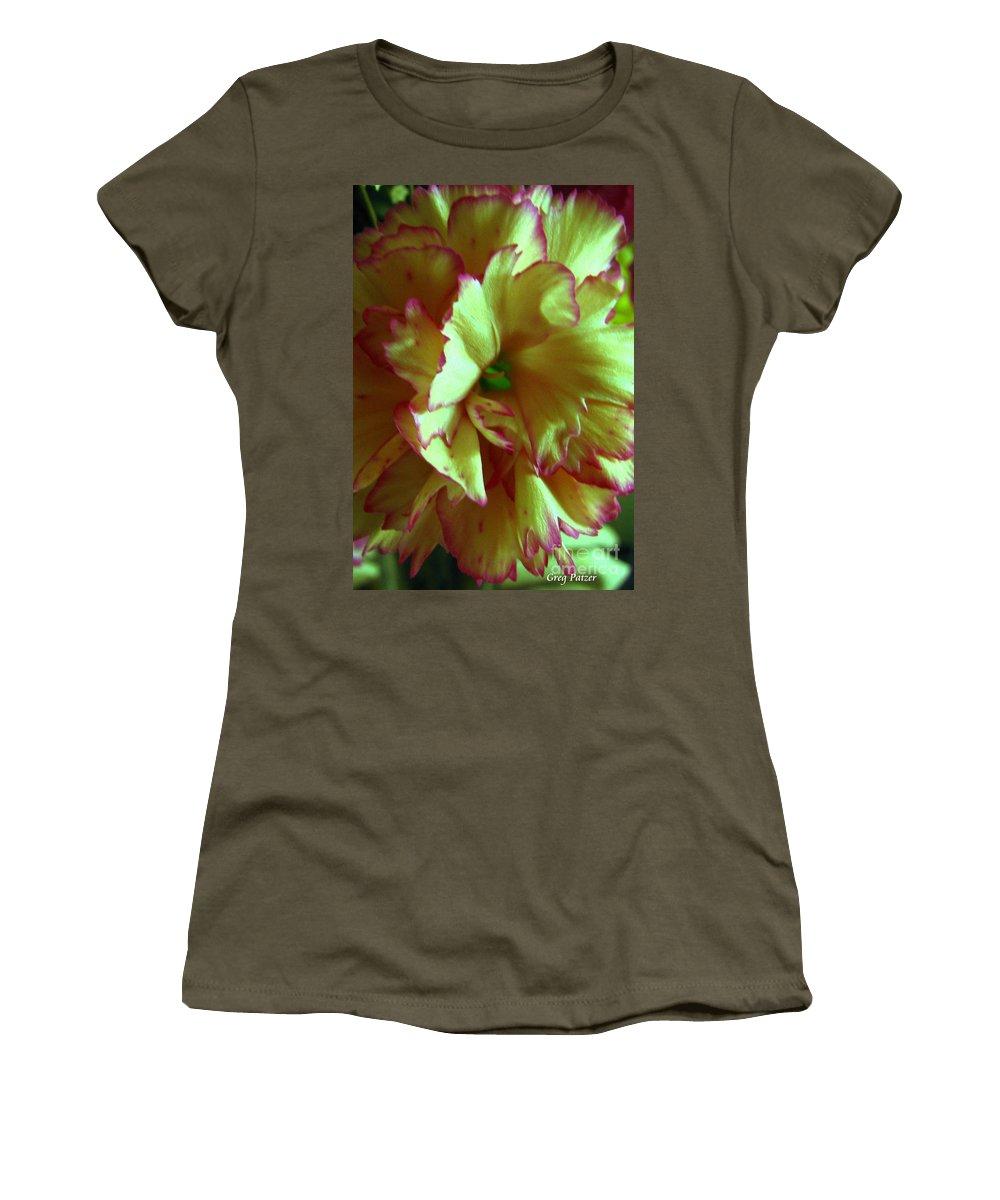 Patzer Women's T-Shirt featuring the photograph Purple Edges by Greg Patzer