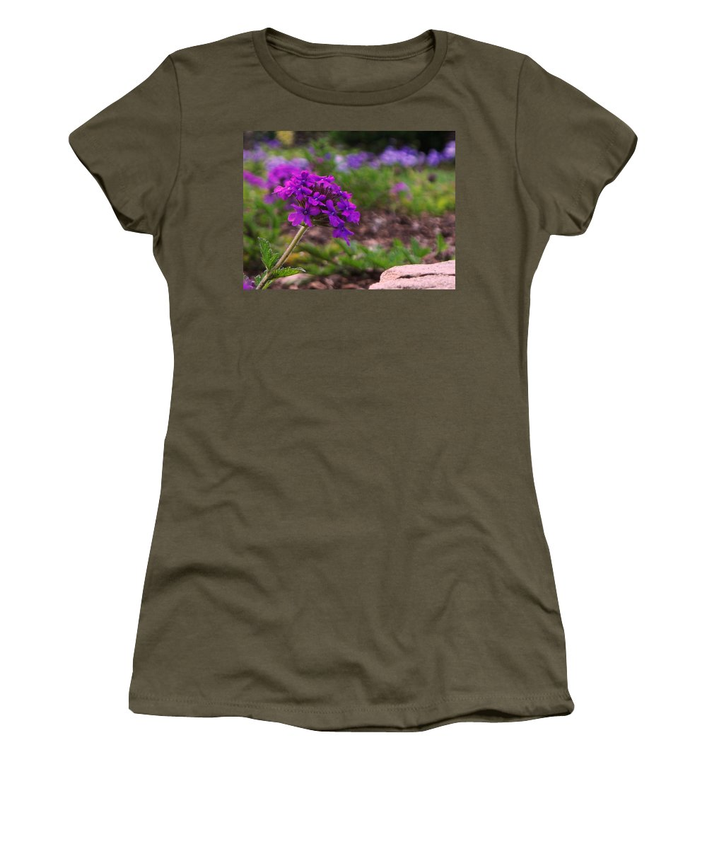 Purple Women's T-Shirt (Athletic Fit) featuring the painting Purple Flower by Eric Schiabor