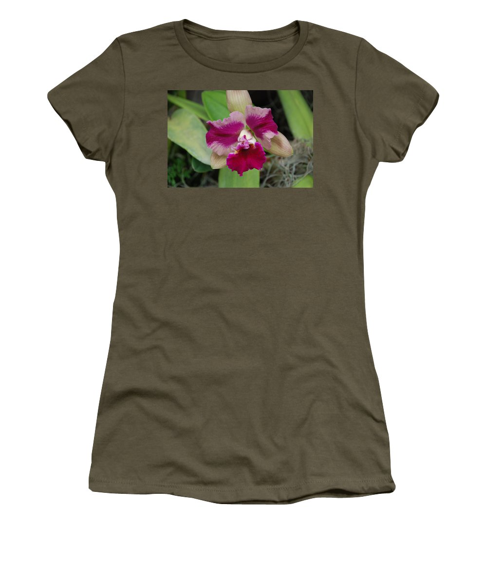 Macro Women's T-Shirt (Athletic Fit) featuring the photograph Purple Orchid by Rob Hans