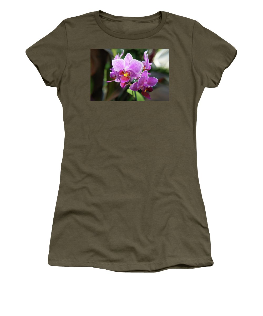 Orchids Flowers Women's T-Shirt (Athletic Fit) featuring the photograph Purple Orchids 2 by Nancy Aurand-Humpf