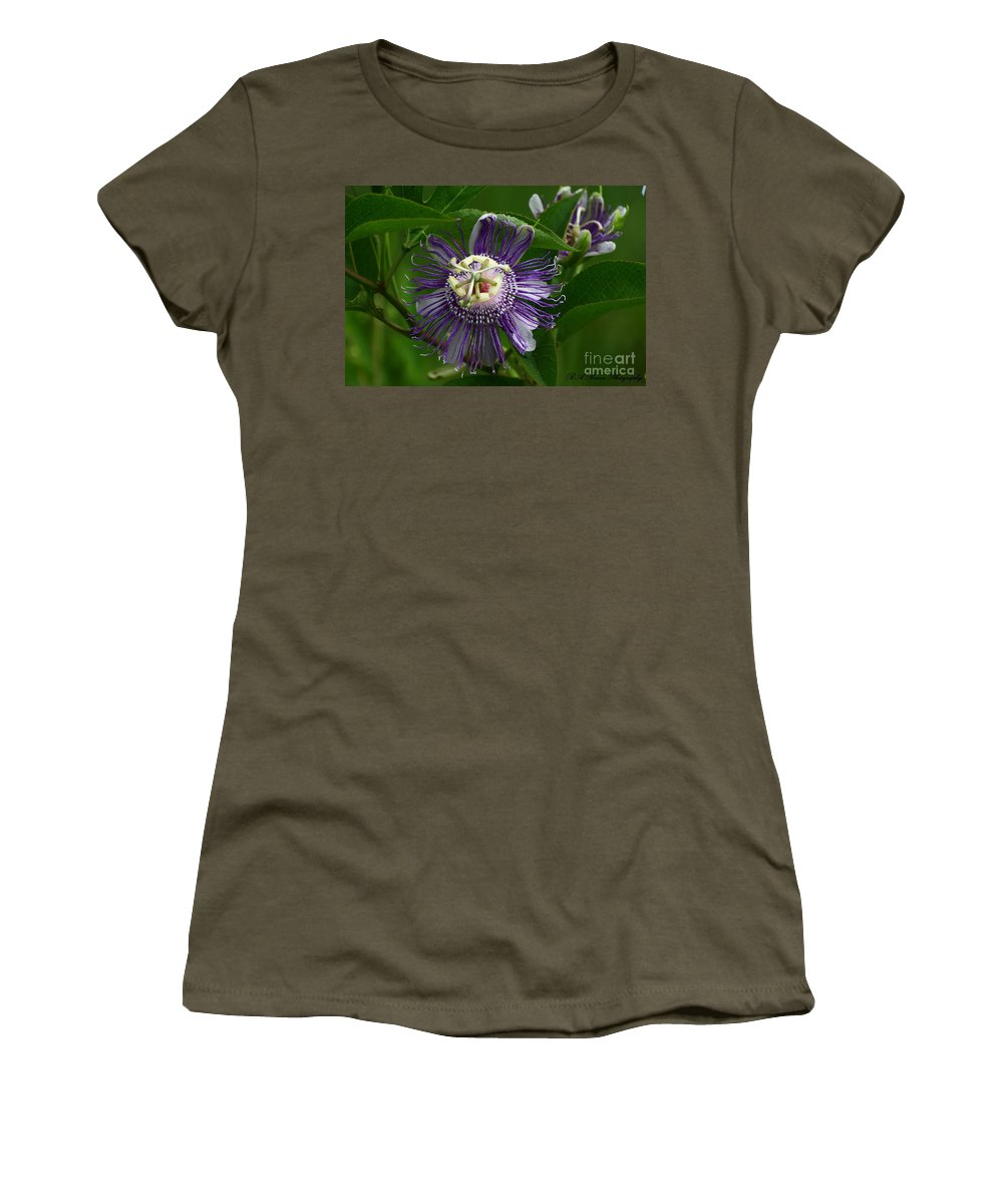 Passion Flower Women's T-Shirt featuring the photograph Purple Passion Flower by Barbara Bowen