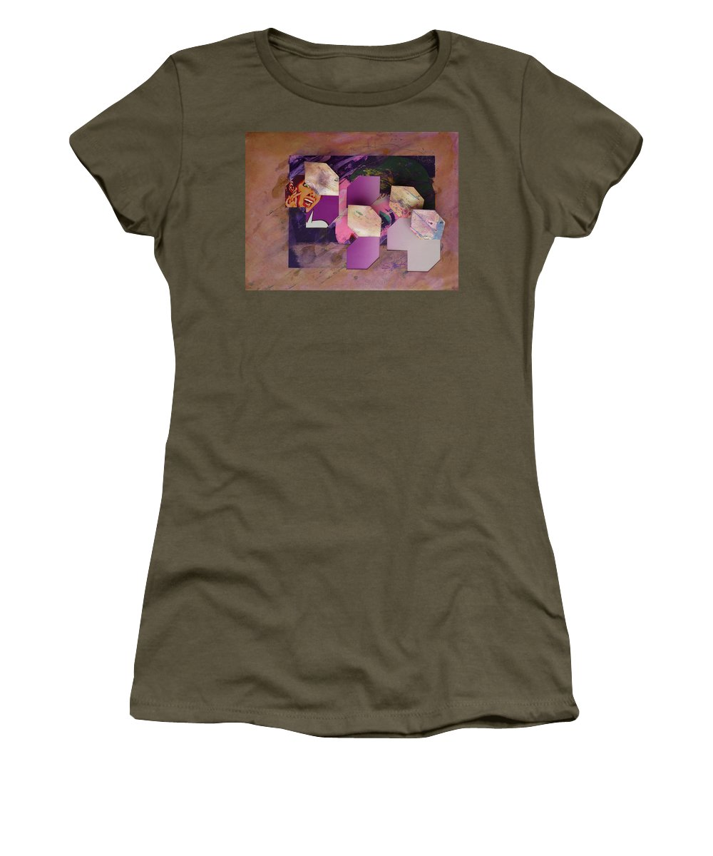 Psycho Women's T-Shirt (Athletic Fit) featuring the mixed media Purple Rain by Charles Stuart