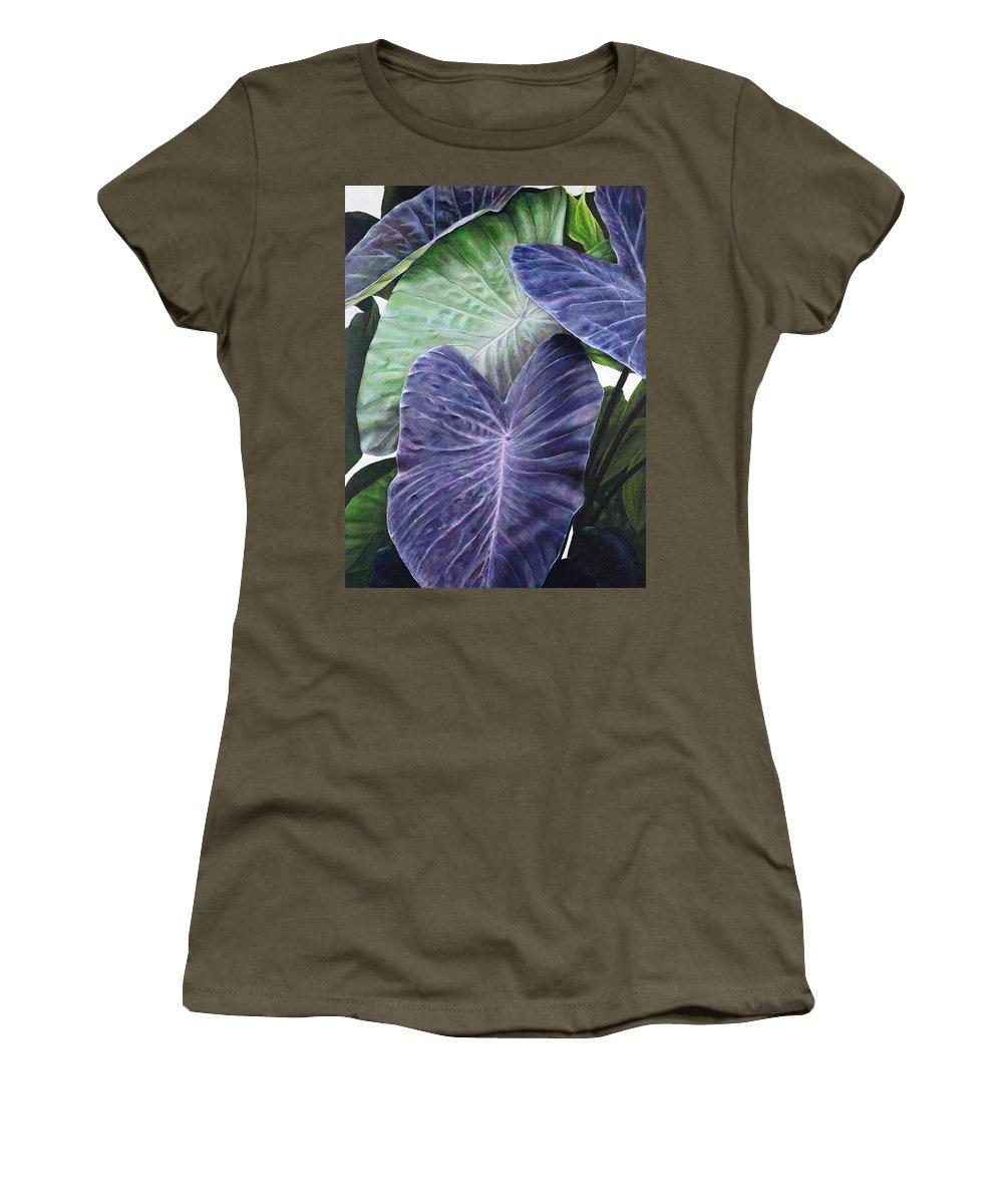 Acrylic Women's T-Shirt featuring the painting Purple Taro by Sandra Blazel - Printscapes