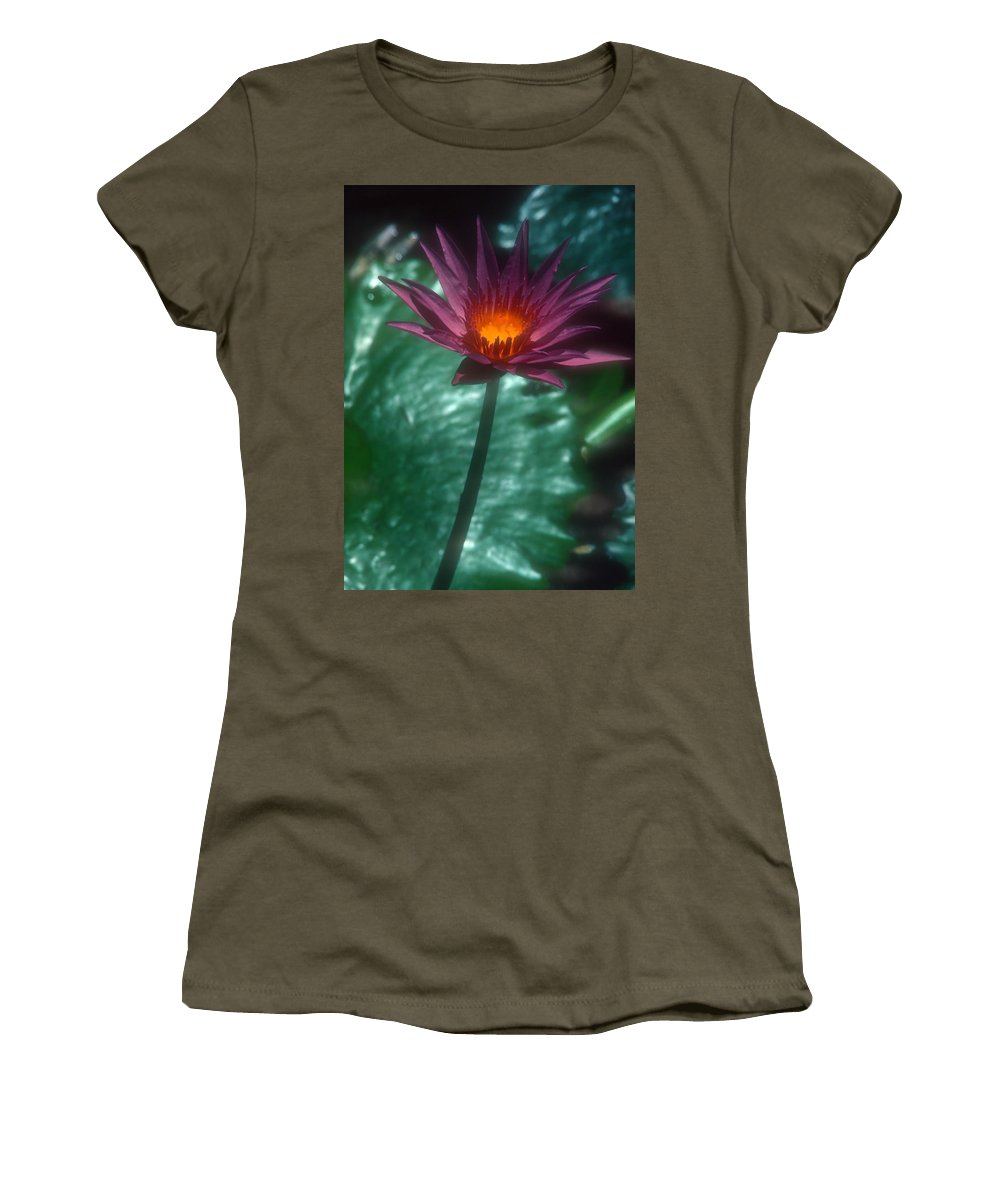 Flower Women's T-Shirt (Athletic Fit) featuring the photograph Purple Water Lily by Stephen Anderson