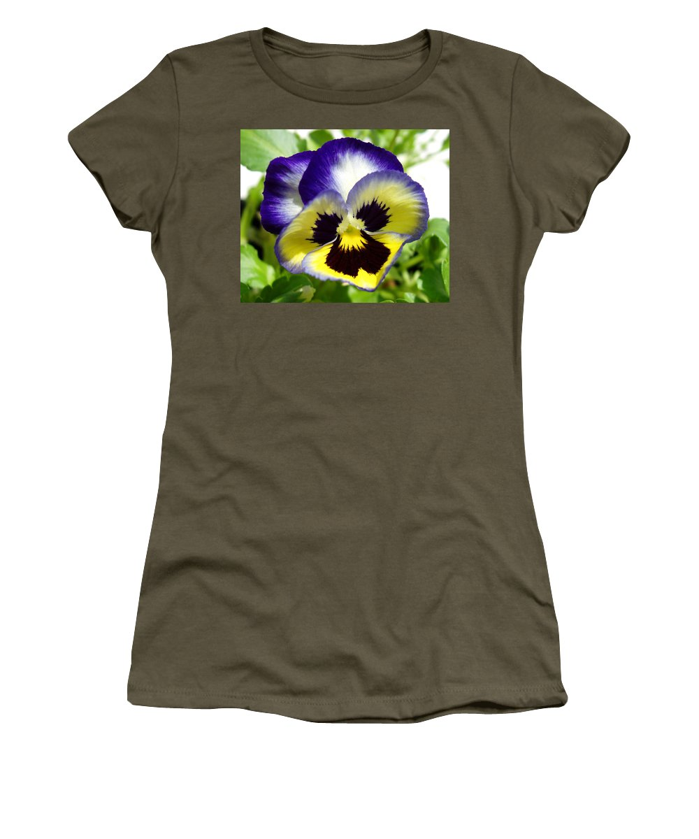 Pansy Women's T-Shirt (Athletic Fit) featuring the photograph Purple White And Yellow Pansy by Nancy Mueller