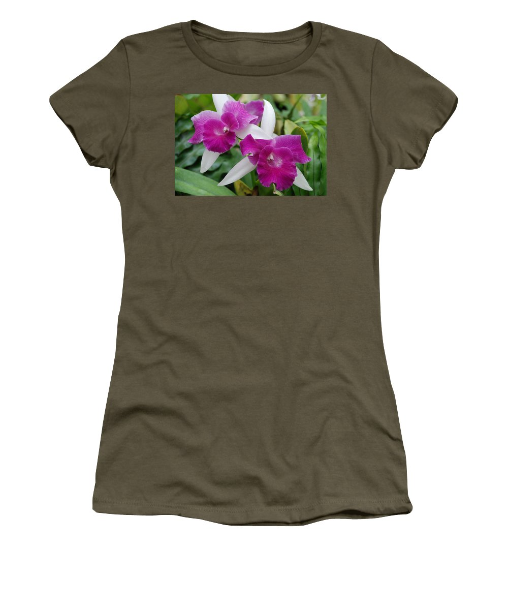 Macro Women's T-Shirt (Athletic Fit) featuring the photograph Purple White Orchids by Rob Hans
