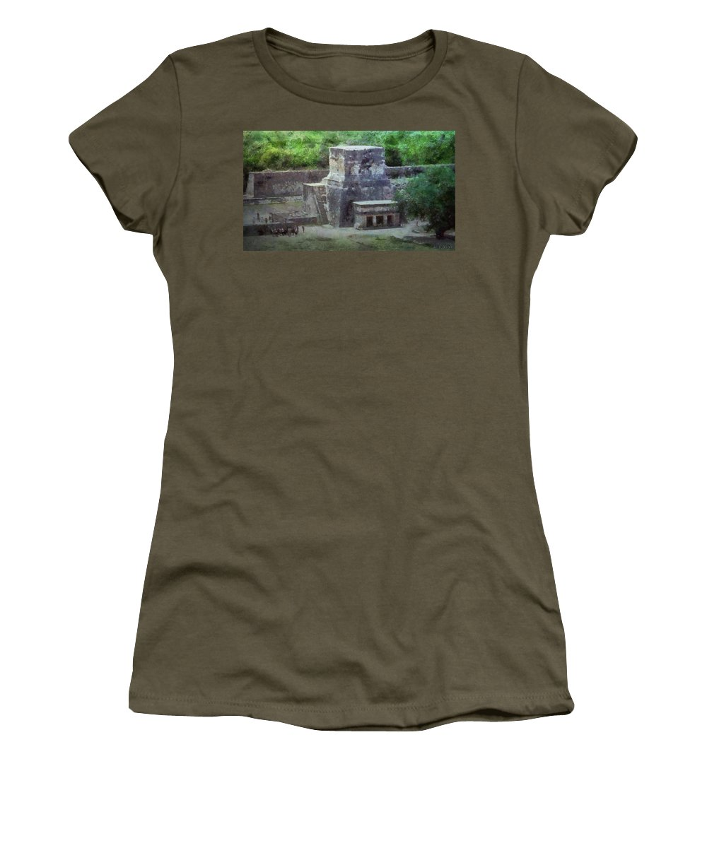 Yucatan Women's T-Shirt featuring the painting Pyramid View by Jeffrey Kolker