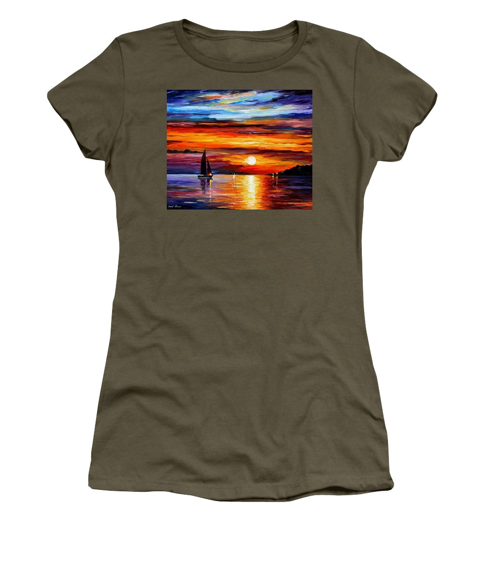 Afremov Women's T-Shirt featuring the painting Quiet Sunset by Leonid Afremov