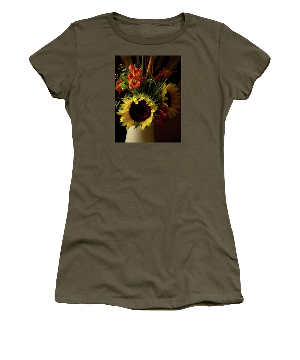 Sunflower Women's T-Shirt featuring the photograph Radiant Sunflowers And Peruvian Lilies by Marie Hicks