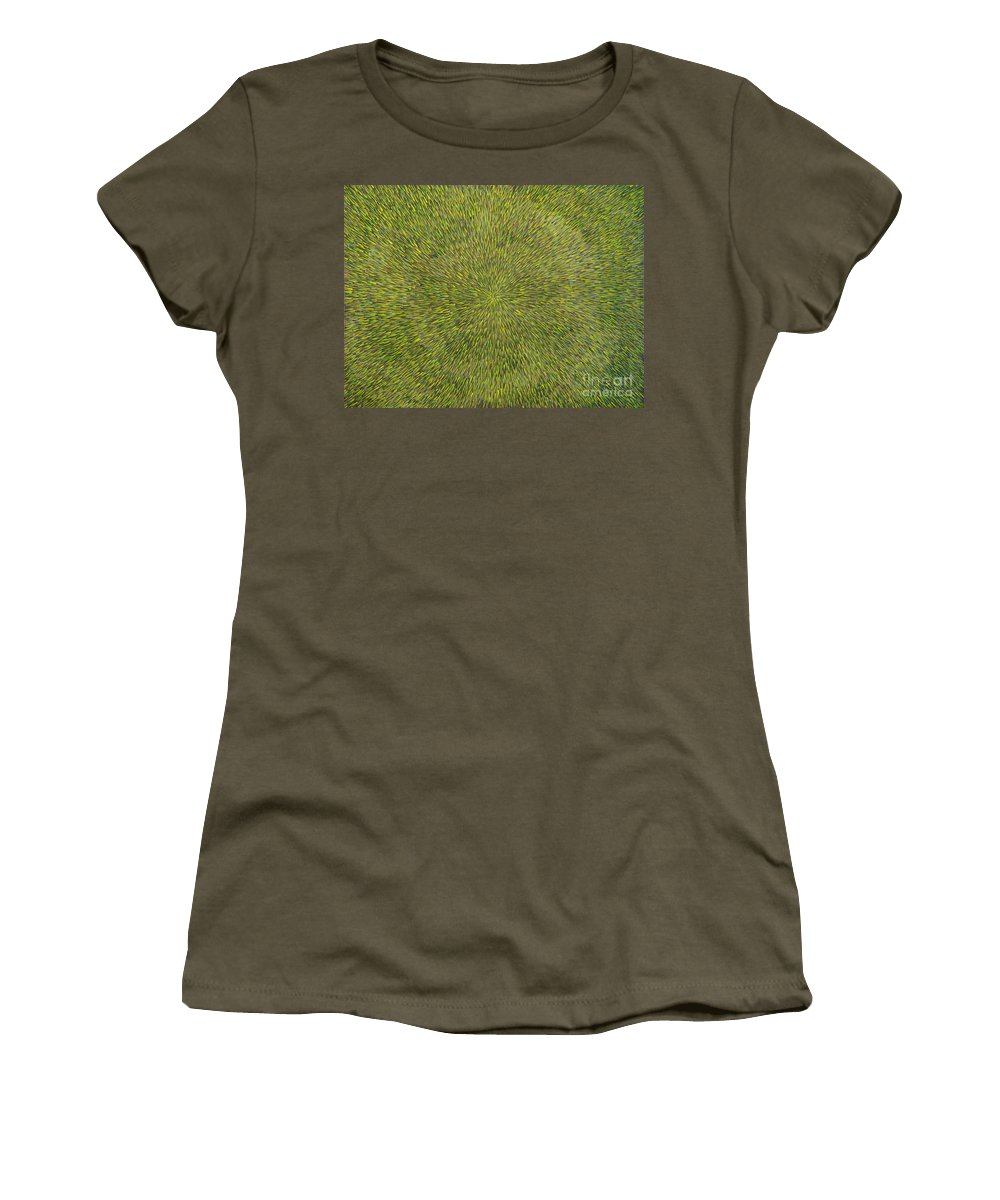 Abstract Women's T-Shirt (Athletic Fit) featuring the painting Radiation With Green With Yellow by Dean Triolo