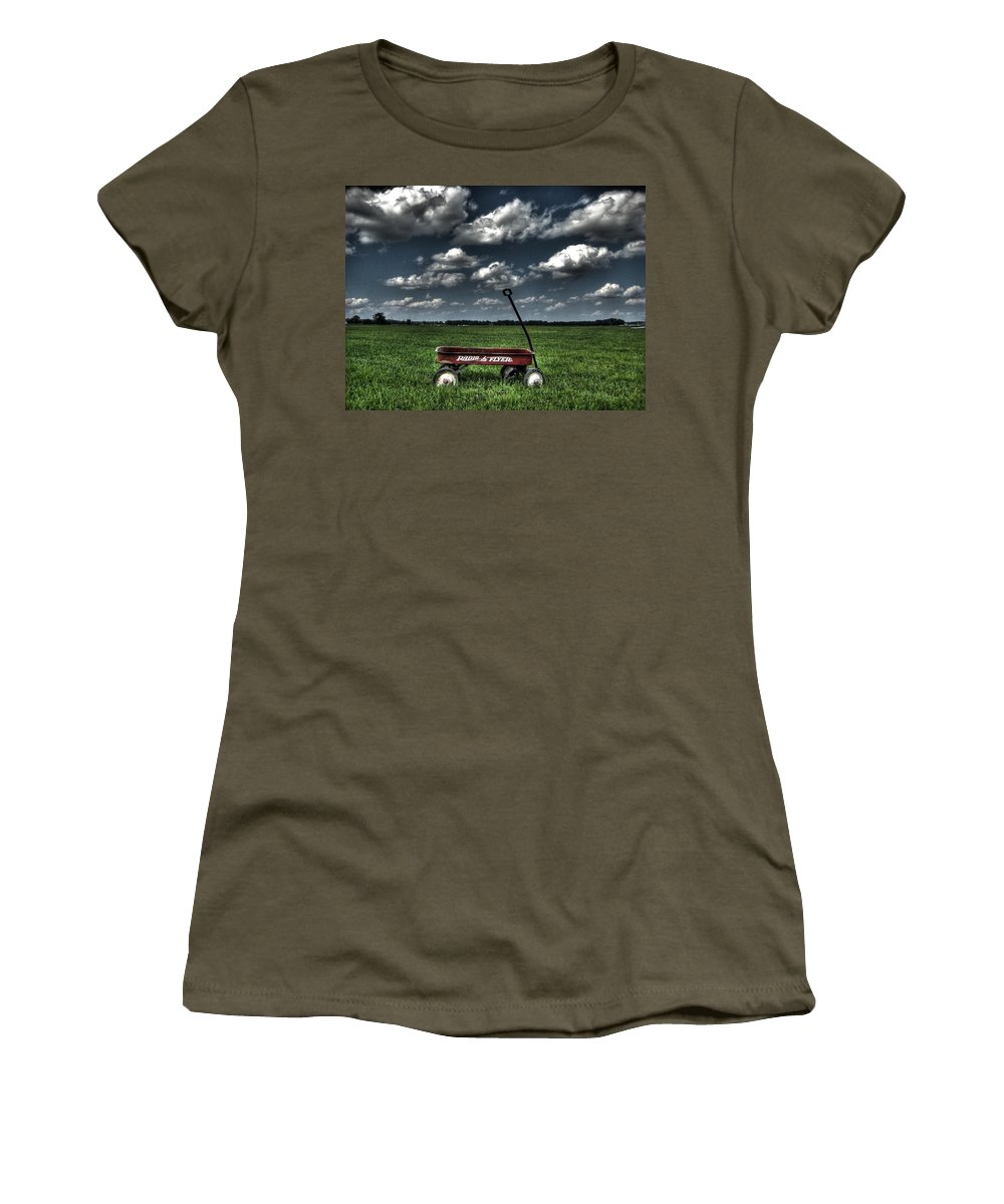 Wagon Women's T-Shirt featuring the photograph Radio Flyer by Jane Linders